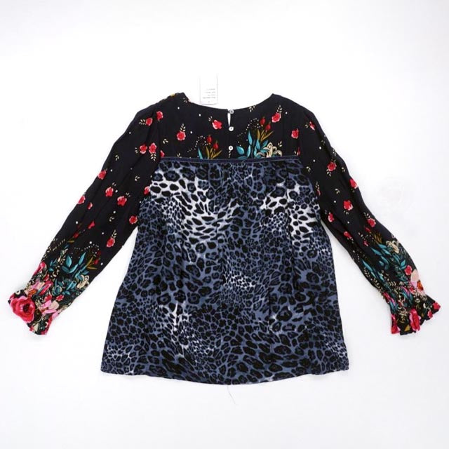 Navy Cheetah and Floral Print Top Size M