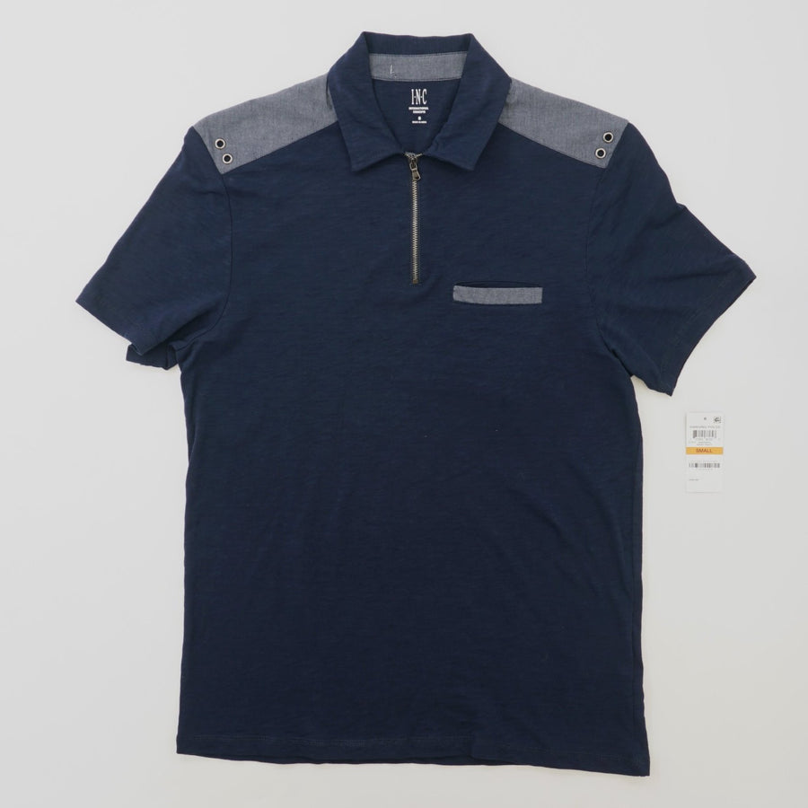 Colorblocked Zip Polo Shirt Size S