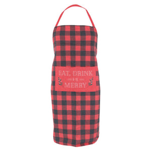 """Eat, Drink & Be Merry"" Buffalo Plaid Apron in a Tube"