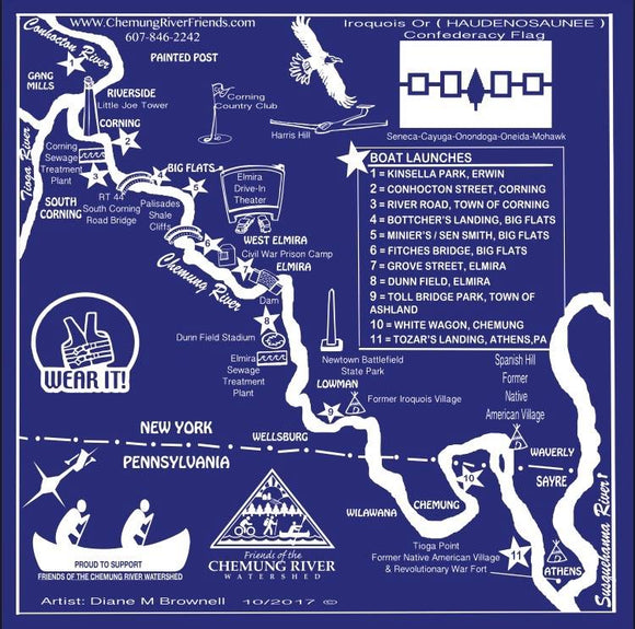 Chemung River Map Bandana
