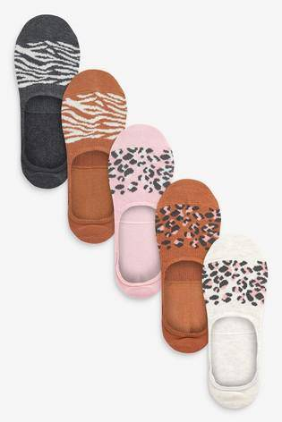 Multi Animal Invisible Socks Five Pack - Allsport