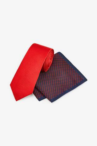 Tie With Geometric Pocket Square Set - Allsport