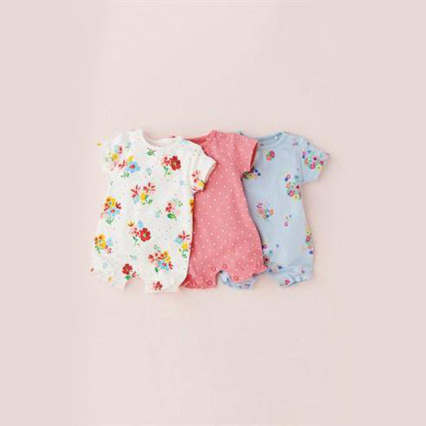 3PK RED FLORAL ROMPERS (0-6MTHS) - Allsport