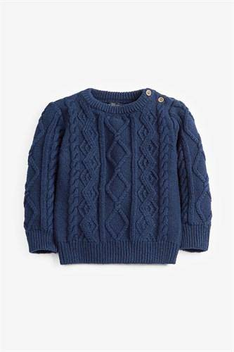 NAVY CABLE CREW SWEATER (3MTHS-5YRS) - Allsport
