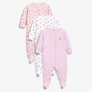 3PK STRAWBERRY SLEEPSUITS (0-18MTHS) - Allsport