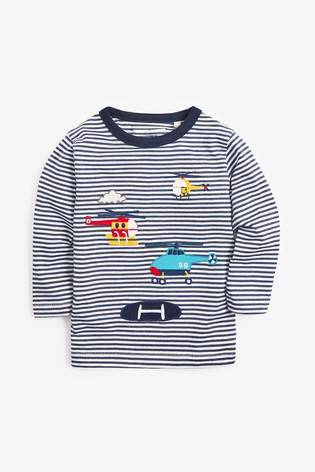 BLUE HELICOPTER TOP (3MTHS-5YRS) - Allsport