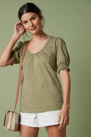 Khaki Short Sleeves Volume Sleeve T-Shirt - Allsport