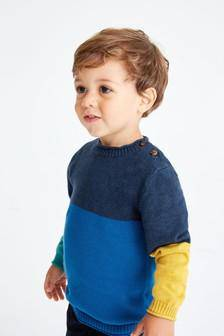 BLUE COLRBLK BASIC SWEATER (3MTHS-5YRS) - Allsport