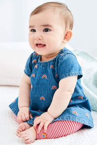 Denim Rainbow Dress And Leggings Set (newborn-18mths) - Allsport