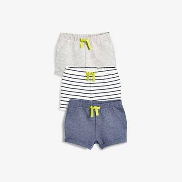 3PK BLUE GREY SHORTS (0-18MTHS) - Allsport