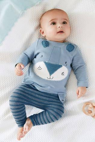 Blue Animal Appliqué Stretch T-Shirt And Leggings Set (0MTH-18MTHS) - Allsport