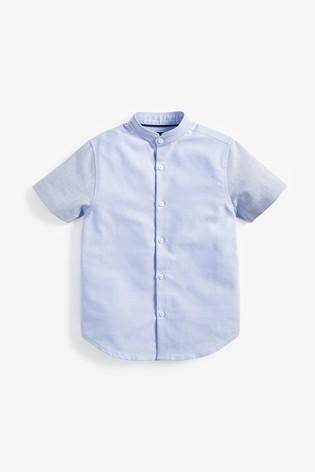 Blue Short Sleeve Colourblock Oxford Shirt - Allsport