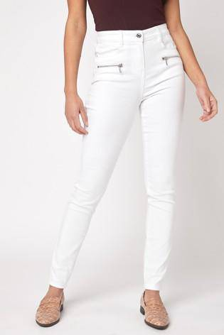 White Zipped Skinny Jeans - Allsport