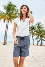Load image into Gallery viewer, Navy Stripe Linen Blend Knee Shorts - Allsport