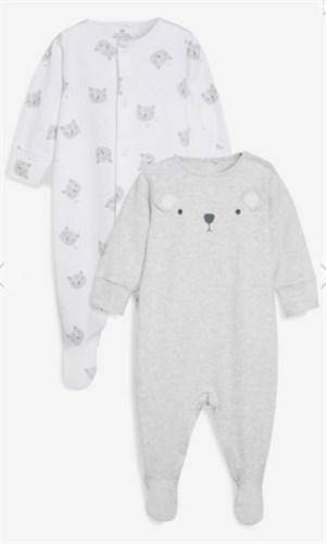 911824 2PK GREY BEAR SLE 3 to 6 MTHS SLEEPSUITS - Allsport
