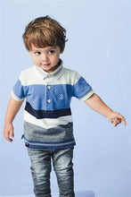 Load image into Gallery viewer, Blue Short Sleeve Stripe Polo - Allsport