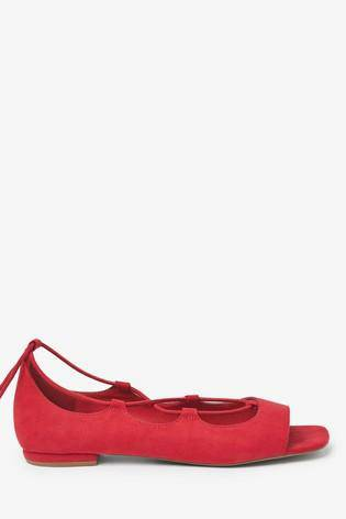 Red Ankle Wrap Peep Toe Shoes - Allsport