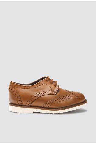 NEW TAN BROGUE SMART SHOES - Allsport