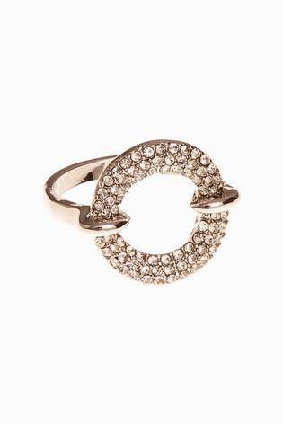 Silver Tone Pave Sparkle Ring - Allsport