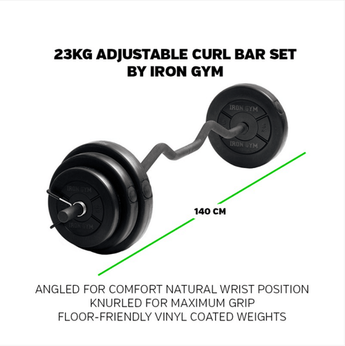 IRON GYM® 23kg Adjustable Curl Bar Set - Allsport
