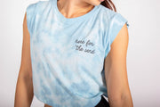 Here For The Send - Women's Blue Hand Tie-Dyed Tank
