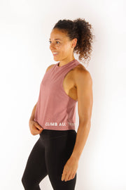 Climb All The Rocks - Women's Cropped Racerback Tank - Mauve