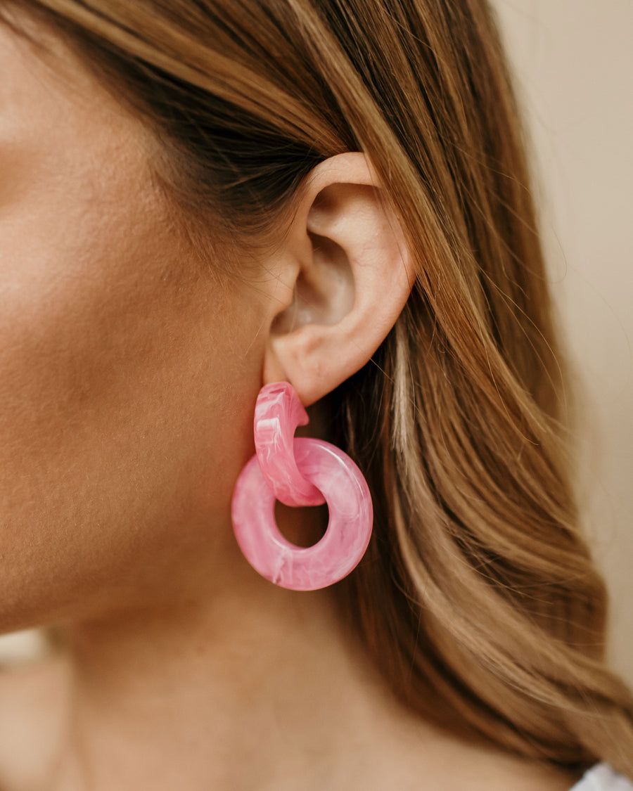 Pink Circle Drop Earring