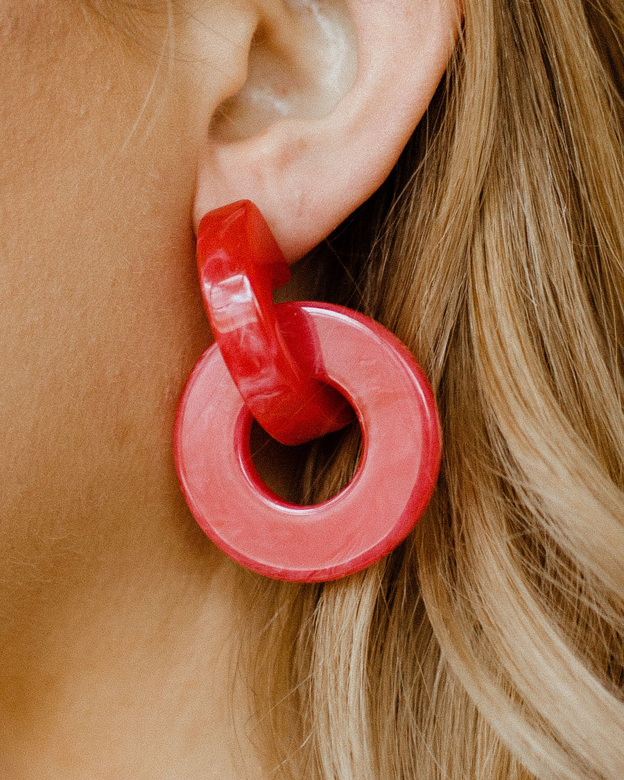 Red Circle Drop Earring