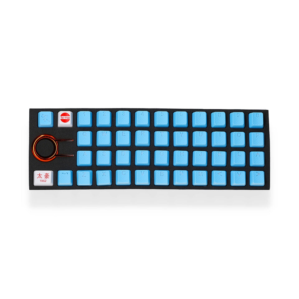 Rubber Keycap Set (42pc) - Neon Blue