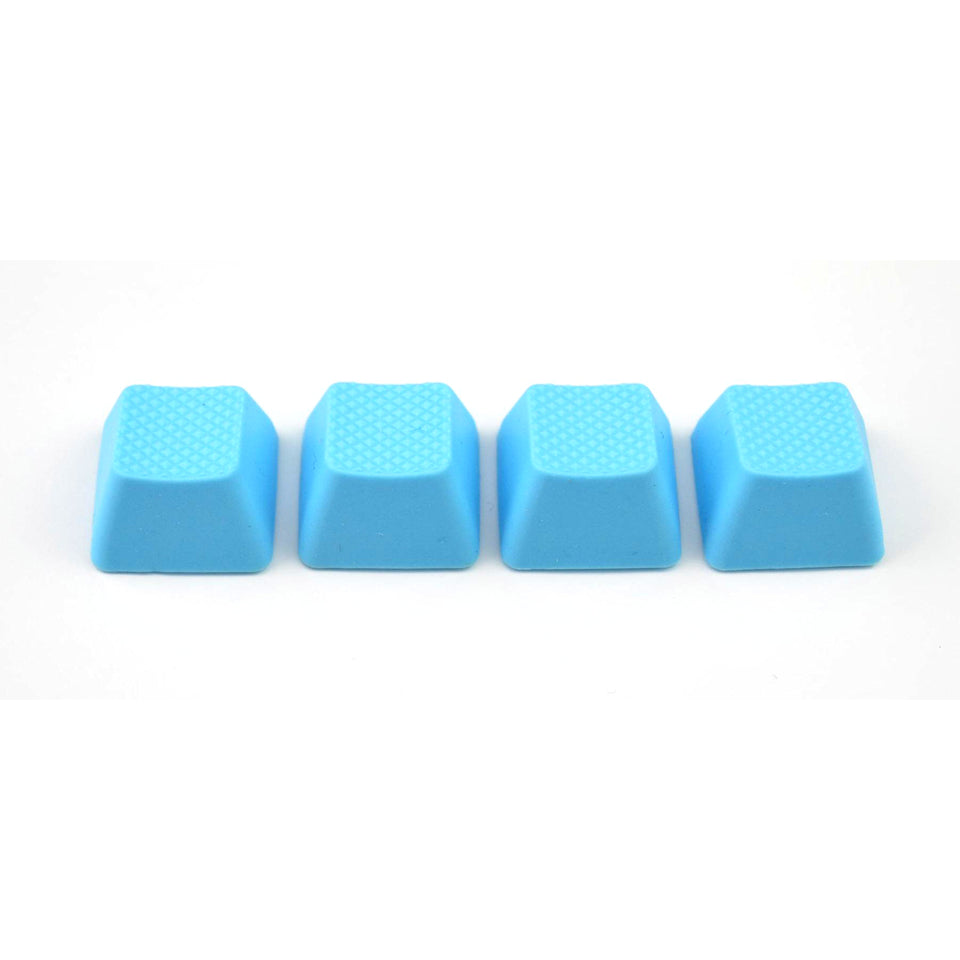 Rubber Keycap Set (4pc) - Blank - Neon Blue