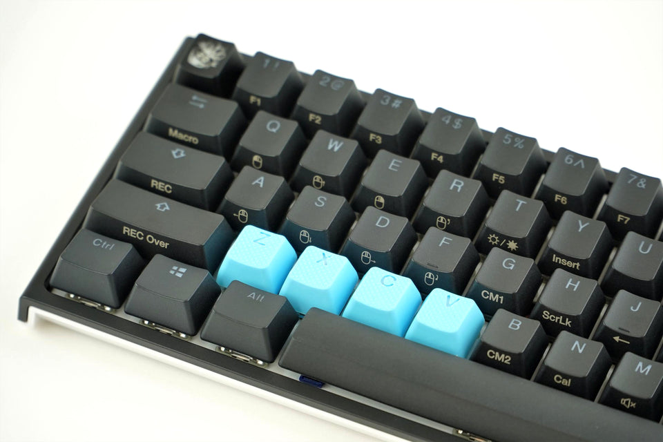 Rubber Keycap Set (4pc) - ZXCV - Neon Blue