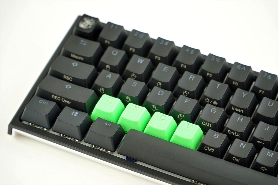 Rubber Keycap Set (4pc) - ZXCV - Neon Green