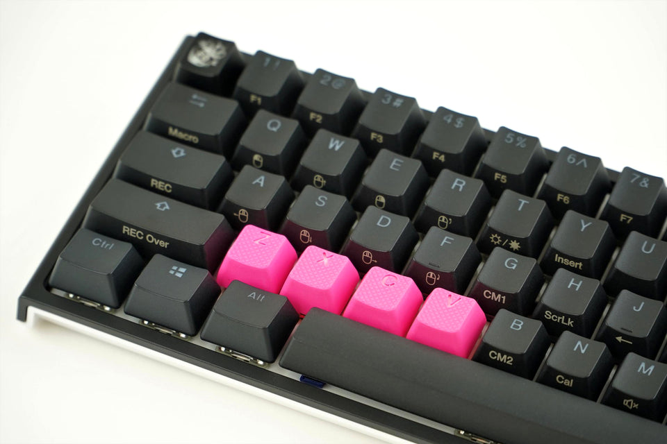Rubber Keycap Set (4pc) - ZXCV - Neon pink
