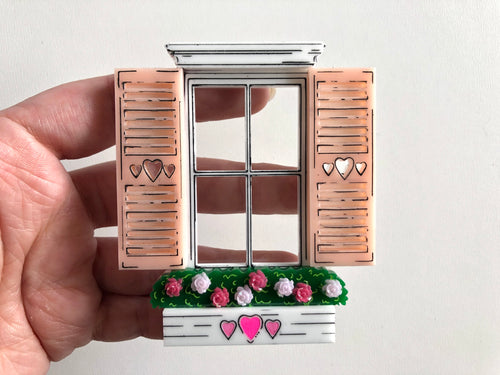 Flowers & Hearts Window Brooch