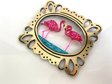 Load image into Gallery viewer, Lilly's Resting Flamingos Brooch