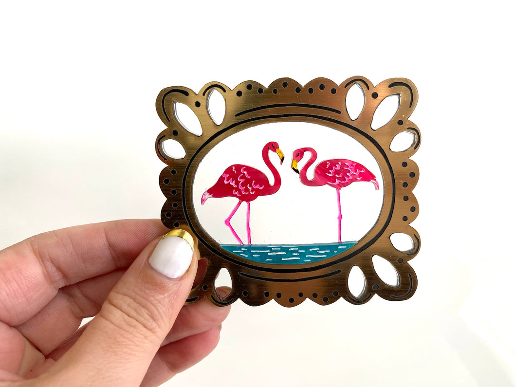 Lilly's Resting Flamingos Brooch