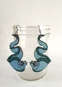 Flotsam and Jetsam - The Little Mermaid - Laser Cut Wood Earrings