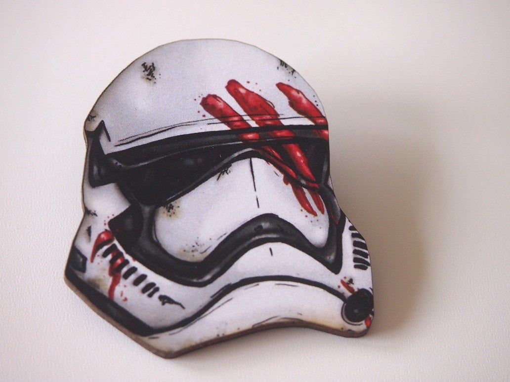 Finn Storm Trooper Helmet- Star Wars - Laser Cut Wood Brooch