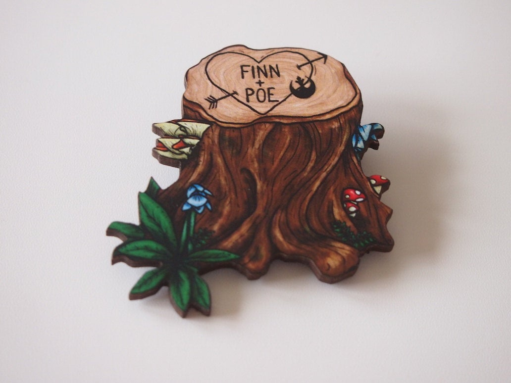 Finn and Poe Love - Star Wars - Laser Cut Wood Brooch