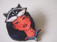 Load image into Gallery viewer, Hunted Pocahontas and Meeko - Laser Cut Wood Brooch