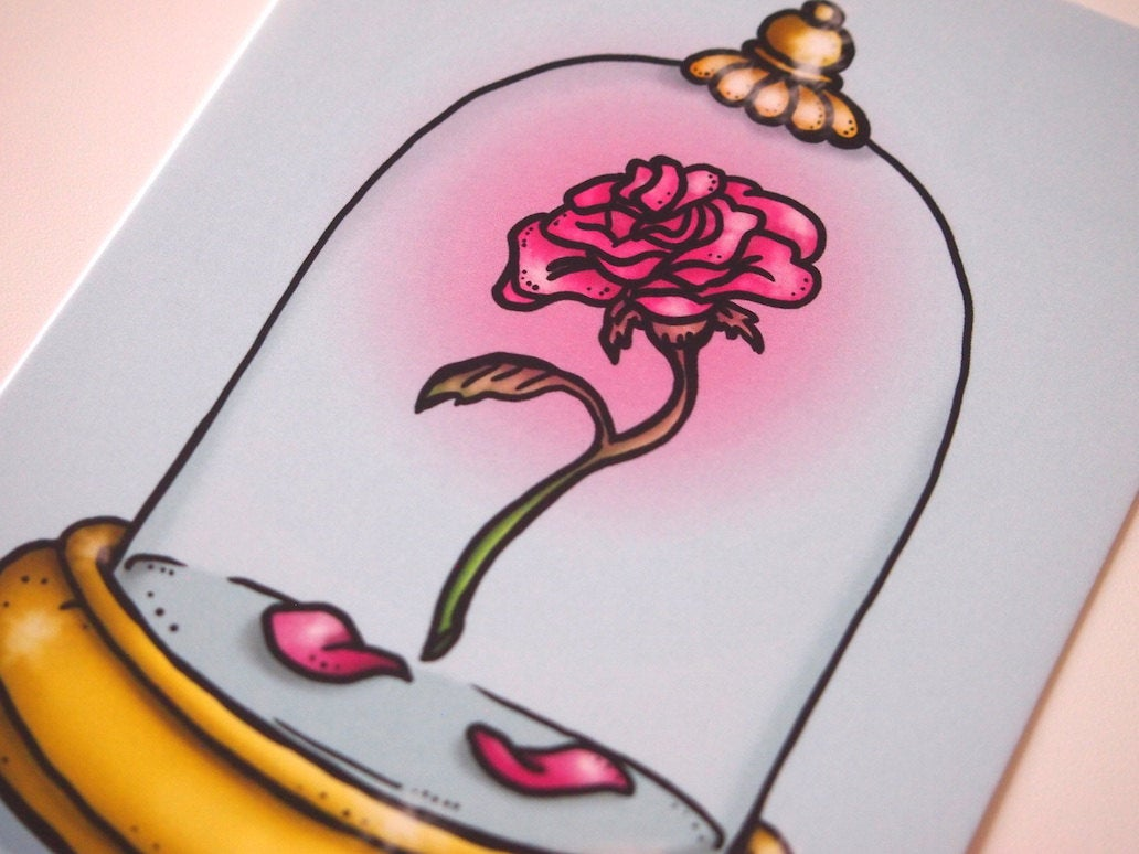 Enchanted Rose - Beauty and the Beast - Postcard