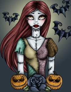 Sally - A Nightmare Before Christmas A4 Art Print by Hungry Designs