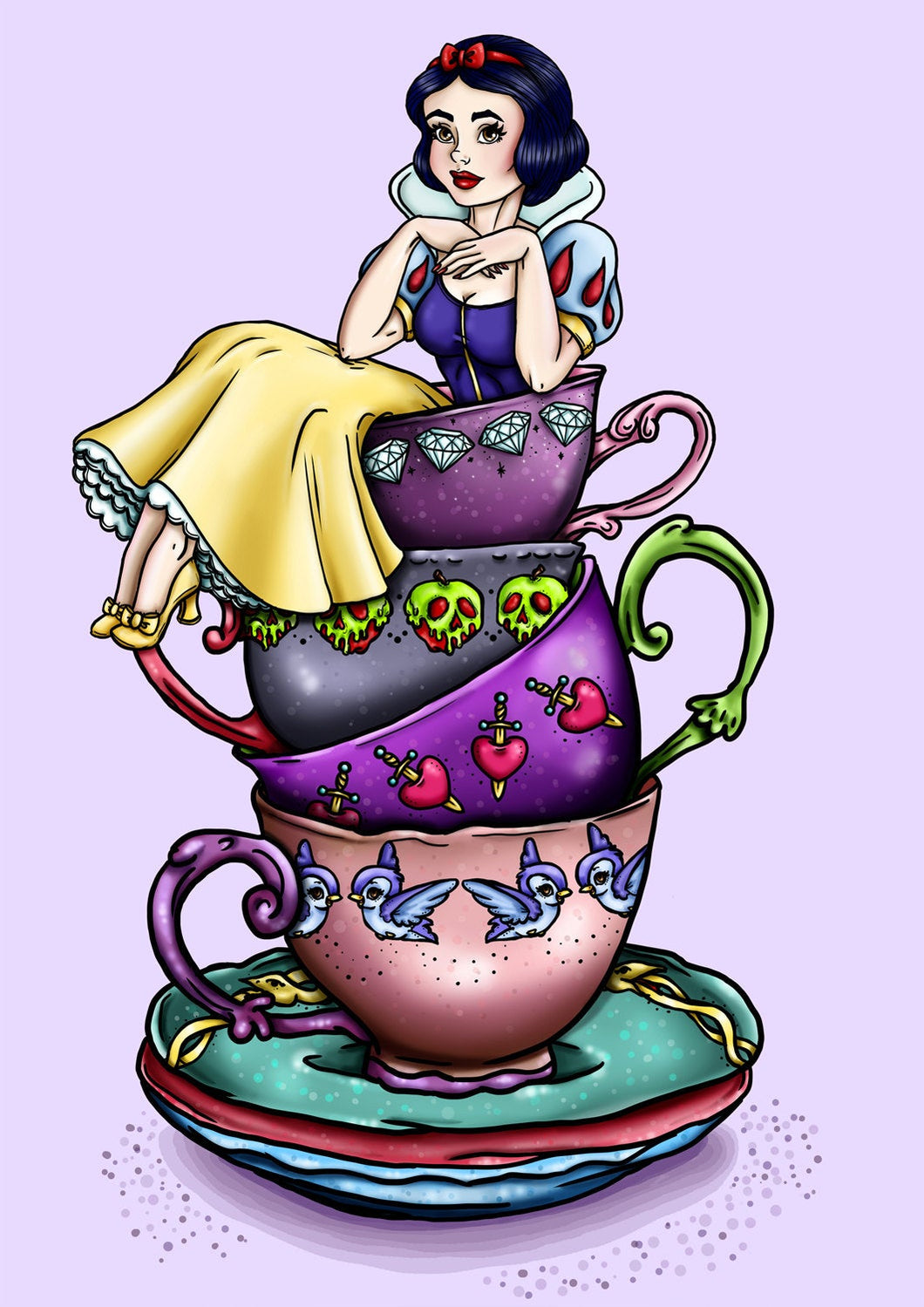 Teacup Snow White - A4 Art Print by Hungry Designs