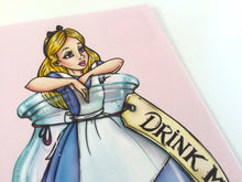 Load image into Gallery viewer, Drink Me - Mini Alice in a Bottle - Alice in Wonderland Postcard