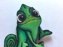 Load image into Gallery viewer, Pascal Chameleon from Rapunzel Laser Cut Wood Brooch
