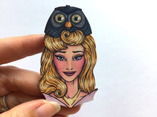 Load image into Gallery viewer, Hunted Aurora and Owl - Laser Cut Wood Brooch
