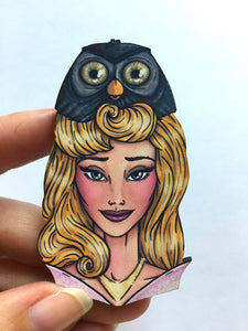 Hunted Aurora and Owl - Laser Cut Wood Brooch
