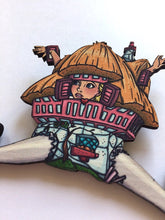 Load image into Gallery viewer, Alice in Wonderland - White Rabbit House - Laser Cut Wood Brooch