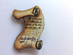 Ursula and Ariel Contract - The Little Mermaid - Laser Cut Wooden Brooch