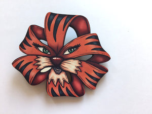 Dandelion and Tiger Lily Plant Brooch Pair - Alice in Wonderland - Laser Cut Wood Brooches